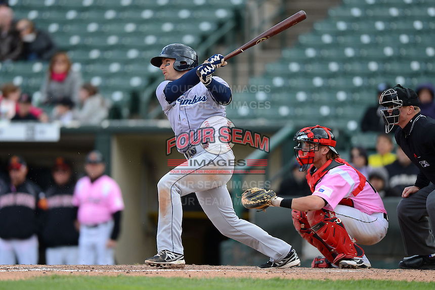 Columbus Clippers third baseman Ryan Rohlinger #2 at bat in front of catcher Chris Herrmann #18 during a game against the Rochester Red Wings on May 12, 2013 at Frontier Field in Rochester, New York.  Rochester defeated Columbus 5-4.  (Mike Janes/Four Seam Images)
