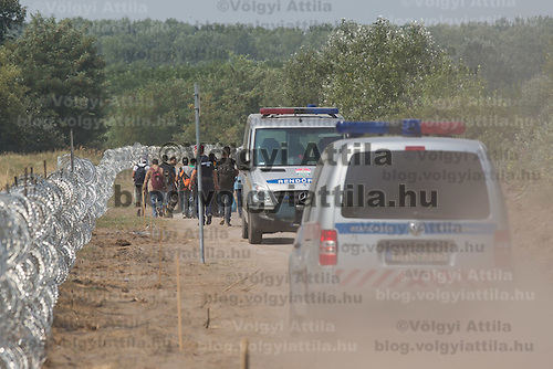Illegal migrants walk under police escort next to a NATO barbed wire fence built to stop illegal migrants entering on the green border between Serbia and Hungary near Asotthalom (about 190 km South of capital city Budapest), Hungary on August 13, 2015. ATTILA VOLGYI