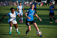Kansas City, MO - Sunday May 07, 2017: Erika Tymrak, Jamia Fields during a regular season National Women's Soccer League (NWSL) match between FC Kansas City and the Orlando Pride at Children's Mercy Victory Field.