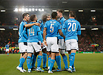 Napoli players celebrate the opening goal scored by Dries Mertens of Napoli  during the UEFA Champions League match at Anfield, Liverpool. Picture date: 27th November 2019. Picture credit should read: Andrew Yates/Sportimage