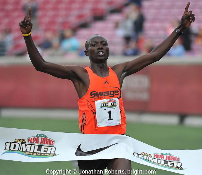 Pius Nyantika wins today's  Papa John's 10 Miler and as also wins the Louisville Triple Crown of Running by winning the first two legs, the Anthem 5K and the Rodes City Run.