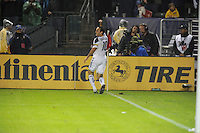 Los Angeles Galaxy's London Donovan pumps his fist after kicking in the winning goal against Houston Dynamo to make the score  1-0 in the MLS Cup at the Home Depot Center. Los Angeles Galaxy 1-0 over the Dynamo USA, Sunday, Nov. 20. 20011, in Carson, California. Photo by Matt A. Brown/isiphotos.com