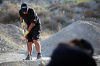 Pictured: Special forensics police officers search a field in Kos, Greece. Tuesday 04 October 2016<br /> Re: Police teams led by South Yorkshire Police, searching for missing toddler Ben Needham on the Greek island of Kos have moved to a new area in the field they are searching.<br /> Ben, from Sheffield, was 21 months old when he disappeared on 24 July 1991 during a family holiday.<br /> Digging has begun at a new site after a fresh line of inquiry suggested he could have been crushed by a digger.