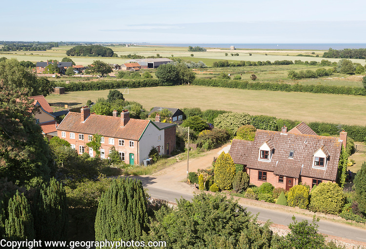 North Sea farming landscape over fields in summer at Bawdsey, Suffolk, England, UK view from church tower