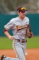 Minnesota Gophers outfielder Troy Larson #3 during a game against the USF Bulls at the Big Ten/Big East Challenge at Al Lang Stadium on February 19, 2012 in St. Petersburg, Florida.  (Mike Janes/Four Seam Images)