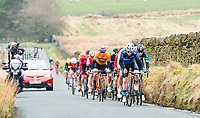 Picture by Allan McKenzie/SWpix.com - 15/04/18 - Cycling - HSBC UK British Cycling Spring Cup Road Series - Chorley Grand Prix 2018 - Chorley, England - The break climbs the hilss around Chorley.