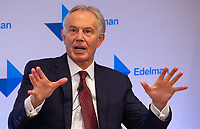 Image ©Licensed to i-Images Picture Agency. 29/01/2019. London, United Kingdom. <br /> Tony Blair speech at the launch of the Edelman Trust Barometer 2019. Blair urges MPs to stand up to claims of elitism in Brexit debate.<br /> Tony Blair Speech, Royal Institute, London, UK. Royal Institute. Picture by Mark Thomas / i-Images