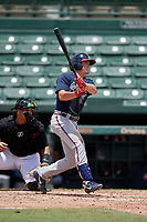 GCL Braves Cade Bunnell (25) at bat during a Gulf Coast League game against the GCL Orioles on August 5, 2019 at Ed Smith Stadium in Sarasota, Florida.  GCL Orioles defeated the GCL Braves 4-3 in the second game of a doubleheader.  (Mike Janes/Four Seam Images)