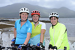 Cahersiveen ladies, Catherine Fayen, Wendy Donnelly and Bernie Gleeson pictured at the half way break at Kilmackillogue Harbour in County Kerry whilst taking part in the annual Sneem Cycle, &ldquo;Wild Atlantic Challenge Charity Cycle&rdquo; in aid of Breakthrough Cancer Research at the weekend.<br /> Photo Don MacMonagle<br /> <br /> repro free photo<br /> Further info: Ann O'Sullivan ann@breakthroughcancerresearch.ie