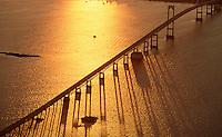 Newport Bridge aerial sunset, Narragansett Bay, RI