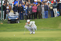 Nacho Elvira (ESP) on the 16th green during Round 4 of the Open de Espana 2018 at Centro Nacional de Golf on Sunday 15th April 2018.<br /> Picture:  Thos Caffrey / www.golffile.ie<br /> <br /> All photo usage must carry mandatory copyright credit (&copy; Golffile | Thos Caffrey)