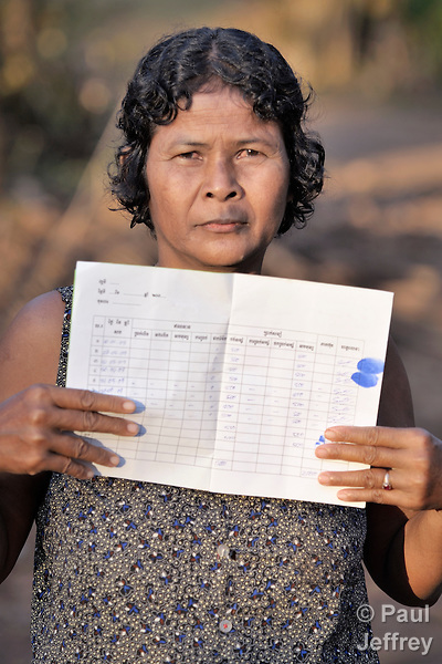 Sum Hon, a woman in the Cambodian village of Att Su, shows her savings passbook. She is saving 500 riel a month, and wants to eventually use her savings to by a pig.