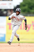 Connecticut Tigers second baseman Domingo Leyba (7) running the bases during the first game of a doubleheader against the Batavia Muckdogs on July 20, 2014 at Dwyer Stadium in Batavia, New York.  Connecticut defeated Batavia 5-3.  (Mike Janes/Four Seam Images)