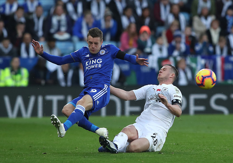 Burnley's Kevin Long and Leicester City's Jamie Vardy<br /> <br /> Photographer Rachel Holborn/CameraSport<br /> <br /> The Premier League - Saturday 10th November 2018 - Leicester City v Burnley - King Power Stadium - Leicester<br /> <br /> World Copyright © 2018 CameraSport. All rights reserved. 43 Linden Ave. Countesthorpe. Leicester. England. LE8 5PG - Tel: +44 (0) 116 277 4147 - admin@camerasport.com - www.camerasport.com