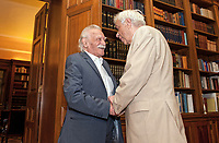 Pictured: Manolis Glezos meets Greek President Prokopis Pavlopoulos. STOCK PICTURE<br /> Re: Manolis Glezos, who took down a flag with a swastika from the Acropolis 30th of May 1941.