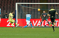 Stevan Jovetic shoots and scores during the Quartef-final of Tim Cup soccer match,between SSC Napoli and vFC Inter    at  the San  Paolo   stadium in Naples  Italy , January 19, 2016