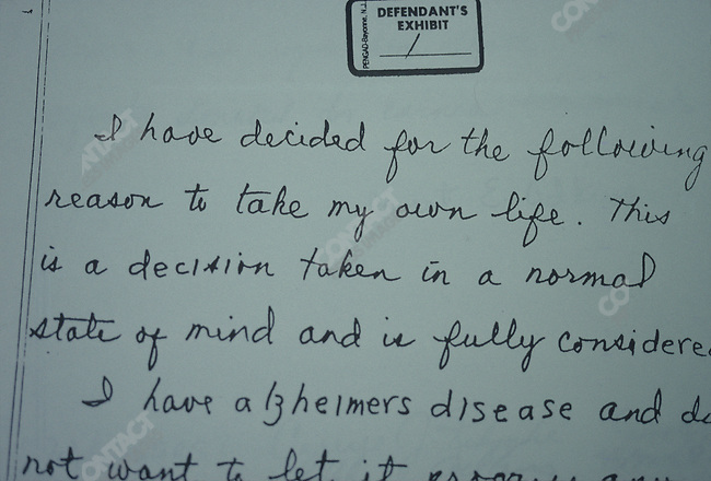 "Suicide note of Jane Adkins, a terminally-ill patient, assisted to suicide by Jack Kevorkian, MD, so called ""Dr Death"" as a renowned advocate for assisted suicide in the early 1990s, Detroit, Michigan, February 1993"