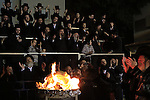 Israel, Lag B'Omer celebration in Bnei Brak, the lighting of the fire by the Rebbe of Premishlan congregation