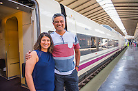 Spain, Seville. Renfe trains, Colaso family. Model released.