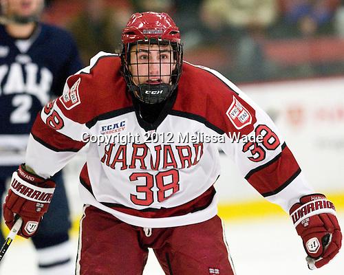 Conor Morrison (Harvard - 38) - The Yale University Bulldogs defeated the Harvard University Crimson 5-1 on Saturday, November 3, 2012, at Bright Hockey Center in Boston, Massachusetts.