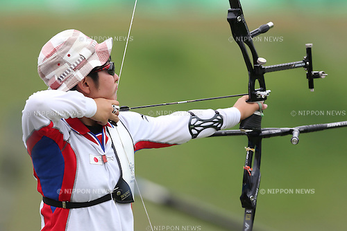 Tomomi Sugimoto (JPN), <br /> JULY 6, 2015 - Archery : <br /> The 28th Summer Universiade 2015 Gwangju Women's Team Recurve Individual Qualification <br /> at Gwangju International Archery Center in Gwangju, South Korea.<br /> (Photo by Sho Tamura/AFLO SPORT)