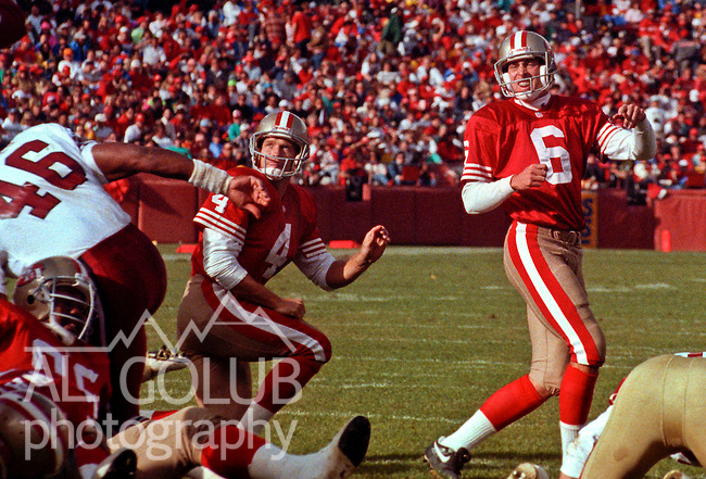 San Francisco 49ers vs. Arizona Cardinals at Candlestick Park Sunday, November 17, 1991.  49ers beat Cardinals 14-10.  49er punter Joe Prokop (4) and kicker Mike Cofer (6) watch to see if ball splits the uprights.