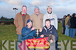 CHAMPION: Ciaran O'Brien of the Tralee coursing committee presenting Dave Quirke Spa Road Tralee owner of the winning dog of the Tommy & Jack Sheehy Memorial on Sunday at Tralee Coursing at Ballybeggan Tralee, sponsored by Lee Strand and Slieve Mish, Tralee, Front l-r: David Quirke and Ciaran O'Brien, Back l-r: Sean Counihan, Oliver Healy(trainer) and Tom O'Connor......... . ............................... ..........