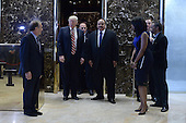 (L-R) William Wachtel, President-Elect Donald J. Trump Martin Luther King III  and Omarosa Manigault stand as they exit the elevators in the lobby of the Trump Tower in New York, NY, on January 16, 2017.<br /> Credit: Anthony Behar / Pool via CNP