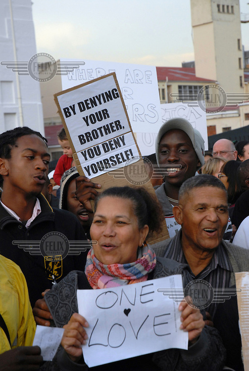 A plea for racial tolerance and strength in diversity. Following xenophobic attacks and violence, thousands of Capetonians staged a protest outside parliament calling for an end to the attacks on foreign African migrants living in the country. Up to 20,000 have been displaced in Cape Town and are being sheltered in temporary accomodation until the threats subside, and they can either move back to the communities they fled from, or repatriate to their home countries.