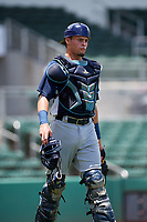 GCL Rays catcher Dawson Dimon (44) during a game against the GCL Red Sox on August 1, 2018 at JetBlue Park in Fort Myers, Florida.  GCL Red Sox defeated GCL Rays 5-1 in a rain shortened game.  (Mike Janes/Four Seam Images)