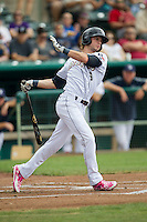 San Antonio Missions designated hitter Travis Jankowski (6) follows through on his swing during the Texas League baseball game against the Corpus Christi Hooks on May 10, 2015 at Nelson Wolff Stadium in San Antonio, Texas. The Missions defeated the Hooks 6-5. (Andrew Woolley/Four Seam Images)