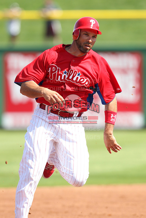 Philadelphia Phillies Raul Ibanez #29 during a scrimmage vs the Florida State Seminoles  at Bright House Field in Clearwater, Florida;  February 24, 2011.  Philadelphia defeated Florida State 8-0.  Photo By Mike Janes/Four Seam Images