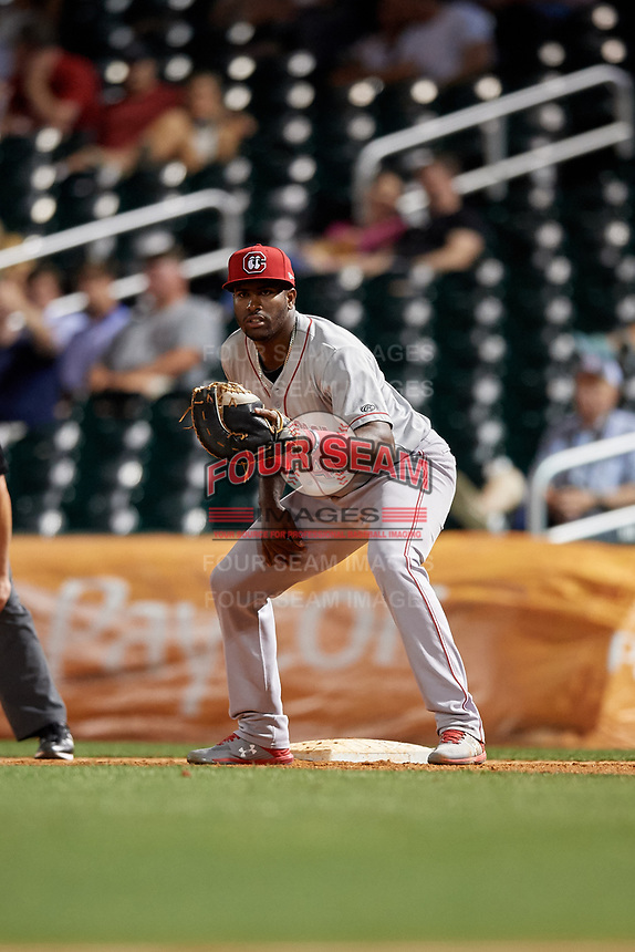 Chattanooga Lookouts first baseman Ibandel Isabel (45) during a Southern League game against the Birmingham Barons on May 2, 2019 at Regions Field in Birmingham, Alabama.  Birmingham defeated Chattanooga 4-2.  (Mike Janes/Four Seam Images)