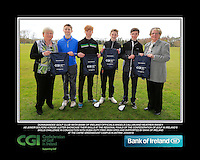 Donaghadee GC team with Bank of Ireland Officials Angela Callan and Heather Raney with Junior golfers from across Ulster practicing their skills at the regional finals of the Dubai Duty Free Irish Open Skills Challenge at The CAFRE Greenmount Campus in Antrim. 2/04/2016.<br /> Picture: Golffile | Fran Caffrey<br /> <br /> <br /> All photo usage must carry mandatory copyright credit (© Golffile | Fran Caffrey)