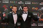 Pablo Alboran (L) and Lucas Vidal pose with Goya award during 30th Goya Awards ceremony in Madrid, Spain. February 06, 2016. (ALTERPHOTOS/Victor Blanco)