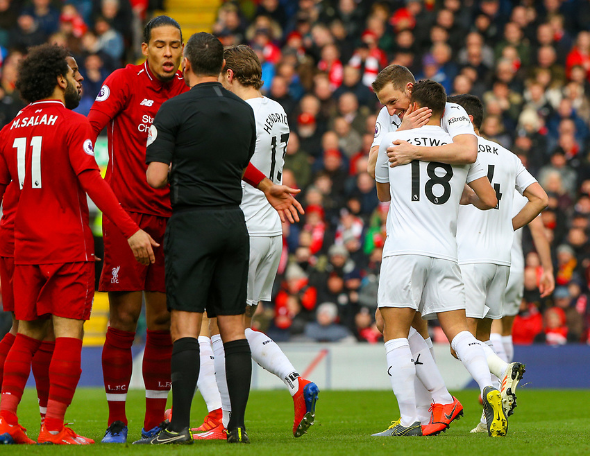 Burnley's Chris Wood congratulates Ashley Westwood after his corner found the back of the net<br /> <br /> Photographer Alex Dodd/CameraSport<br /> <br /> The Premier League - Liverpool v Burnley - Sunday 10th March 2019 - Anfield - Liverpool<br /> <br /> World Copyright © 2019 CameraSport. All rights reserved. 43 Linden Ave. Countesthorpe. Leicester. England. LE8 5PG - Tel: +44 (0) 116 277 4147 - admin@camerasport.com - www.camerasport.com