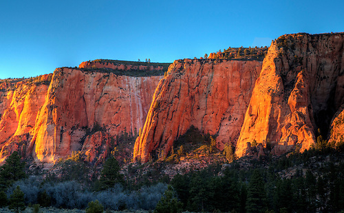 Bright colors come alive during sunset at Zion National Park, Utah