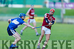 Causeway's Keith Carmody tries to get his shot away as Michael Davis of St Brendans attempts to block his effort, in the Division 1 County Hurling League final