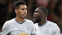 Romelu Lukaku (right) celebrates his goal with Chris Smalling of Man Utd during the Premier League match between Bournemouth and Manchester United at the Goldsands Stadium, Bournemouth, England on 18 April 2018. Photo by Andy Rowland.