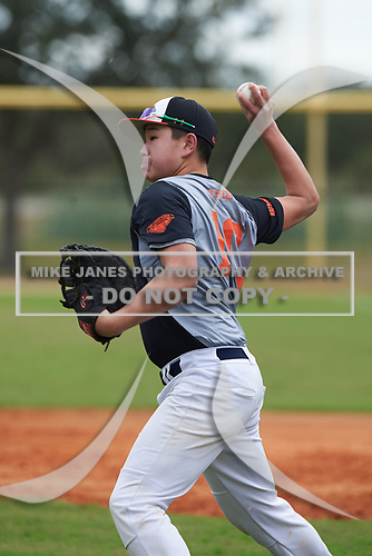 Jake MacIsaac (10) of Shrewsbury, Massachusetts during the Baseball Factory All-America Pre-Season Rookie Tournament, powered by Under Armour, on January 13, 2018 at Lake Myrtle Sports Complex in Auburndale, Florida.  (Michael Johnson/Four Seam Images)