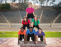 Occidental Children's Theater will celebrate its 19th year with a brand new story, The Emperor's New Clothes Encounters of the Third Kind, and three adventurous adaptations of traditional folktales for a seven-week outdoor run in the Remsen Bird Hillside Theater on the Occidental College campus.<br /> Actors pictured, clockwise from top, Savannah Gilmore '15 (pink), Sarah Martellaro '14 (green), Tristan Waldron '12 (purple), Lukecus King '14 (blue), Edward Jackson '16 (orange), Claudia (Gomez) Restrepo '10 (red) photographed on Wednesday, July 9, 2014. Conceived and directed by Jamie Angell assoc. professor of the practice. (Photo by Marc Campos, Occidental College Photographer)