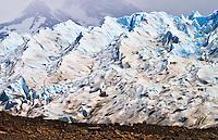 Small groups experience a mine trek on Glacier Perito Moreno in the Southern Parque Nacionales Los Glaciares in Argentina.
