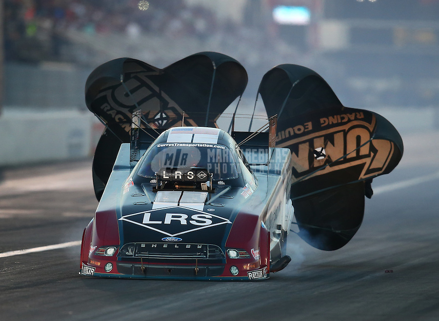 Feb 13, 2016; Pomona, CA, USA; NHRA funny car driver Tim Wilkerson during the Winternationals at Auto Club Raceway at Pomona. Mandatory Credit: Mark J. Rebilas-USA TODAY Sports