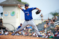 Toronto Blue Jays pitcher Scott Copeland (28) delivers a pitch during a Spring Training game against the Pittsburgh Pirates on March 3, 2016 at McKechnie Field in Bradenton, Florida.  Toronto defeated Pittsburgh 10-8.  (Mike Janes/Four Seam Images)