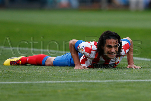 27.04.2013. Madrid, Spain.  La Liga football  Atletico de Madrid vs Real Madrid CF (1-2) at Vicente Calderon stadium. The picture shows Radamel Falcao Garcia (Colombian striker of At. Madrid)