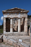 DELPHI, GREECE - APRIL 12 : A front view of the Treasury of the Athenians, on April 12, 2007 in the Sanctuary of Apollo, Delphi, Greece. The Treasury of the Athenians was built circa 500BC and has been completely restored in the Doric order at the beginning of the 20th century. The building has 2 Doric columns and 27 metopes depicting the Labours of Herakles and Theseus as well as the Amazonomachy. (Photo by Manuel Cohen)
