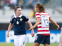 Alex Morgan, Joanne Love.  The USWNT defeated Scotland, 4-1, during a friendly at EverBank Field in Jacksonville, Florida.