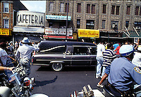 IN ADVANCE FOR 20TH ANNIVERSARY OF CROWN HEIGHTS RIOTS IN BROOKLYN, NY ON AUGUST 19, 1991. Gavin Cato's funeral procession travels up Utica Ave. on it's way to Cypress Hills Cemetery on August 26, 1991. Cato was the youth accidentally run over by the Lubavitcher Rebbe's auto procession in Crown Heights. (© Richard B. Levine)