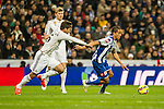 Real Madrid´s Daniel Carvajal and Deportivo de la Coruna's Helder Costa during 2014-15 La Liga match between Real Madrid and Deportivo de la Coruna at Santiago Bernabeu stadium in Madrid, Spain. February 14, 2015. (ALTERPHOTOS/Luis Fernandez)