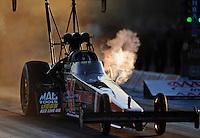 Sept. 23, 2011; Ennis, TX, USA: NHRA top fuel dragster driver David Grubnic during qualifying for the Fall Nationals at the Texas Motorplex. Mandatory Credit: Mark J. Rebilas-